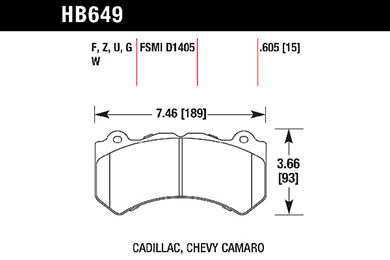 hawk brake pads tech spec diagram HB649