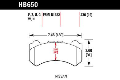 hawk brake pads tech spec diagram HB650