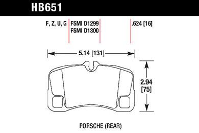 hawk brake pads tech spec diagram HB651