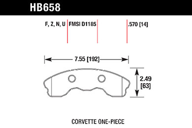 hawk brake pads tech spec diagram HB658