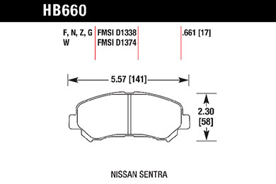 hawk brake pads tech spec diagram HB660