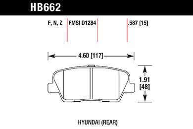 hawk brake pads tech spec diagram HB662