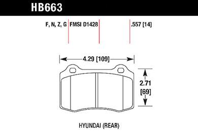 hawk brake pads tech spec diagram HB663