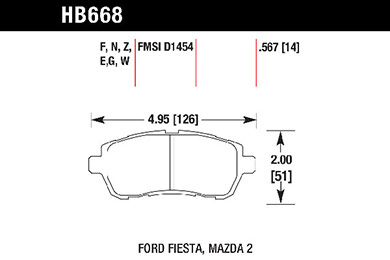 hawk brake pads tech spec diagram HB668