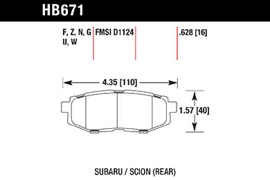 hawk brake pads tech spec diagram HB671