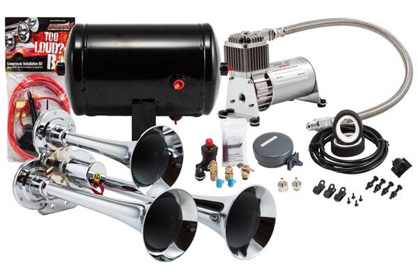 Image of Kleinn Pro Blaster Compact Air Horn Kits HK3 HK3 Compact Triple Air Horn Kit