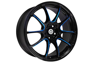 konig illusion wheels black ball cut blue spokes sample
