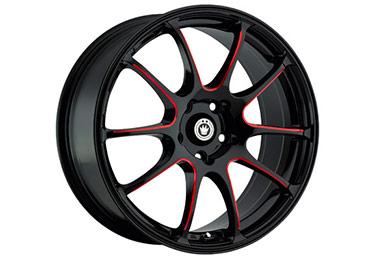 konig illusion wheels black ball cut red spokes sample