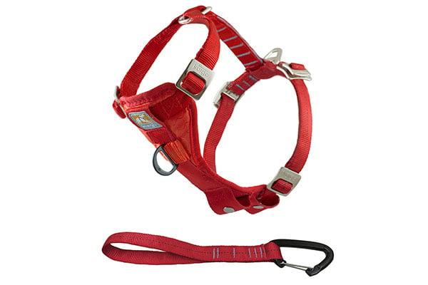 kurgo enhanced strength tru fit smart dog harness with steel nesting buckles red