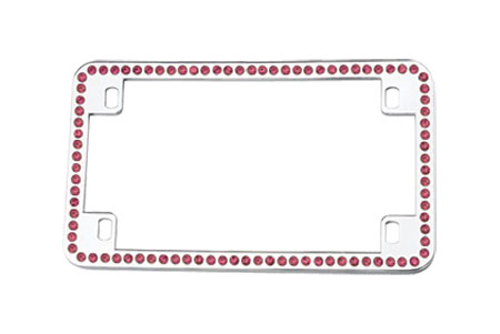 License2Bling Swarovski Crystals Motorcycle License Plate Frames MTR - CR - PINK Motorcycle License Plate Frames