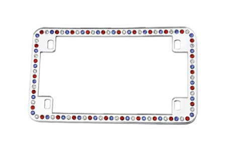 License2Bling Swarovski Crystals Motorcycle License Plate Frames MTR - CR - RWB Motorcycle License Plate Frames
