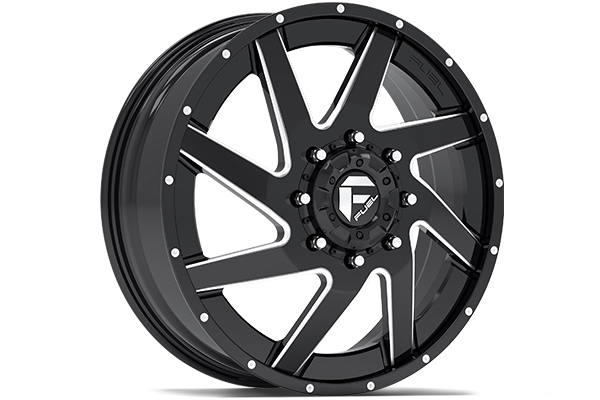 fuel renegade dually wheels gloss black with milled accents front sample