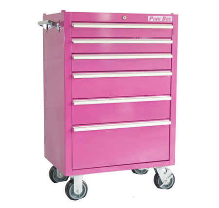pink box rolling tool chest 6 drawers