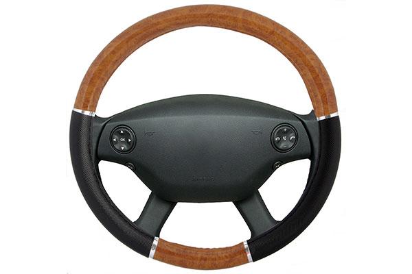 proz burlwood steering wheel cover light black