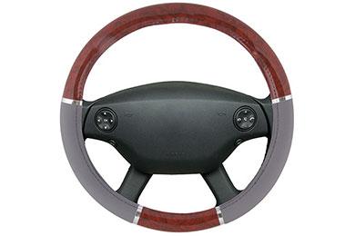 proz burlwood steering wheel cover grey