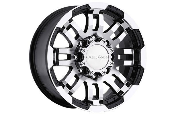 vision 375 warrior wheels gloss black machine face 8 sample