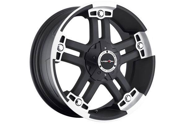 vision 394 warlord wheels black machined 6 sample