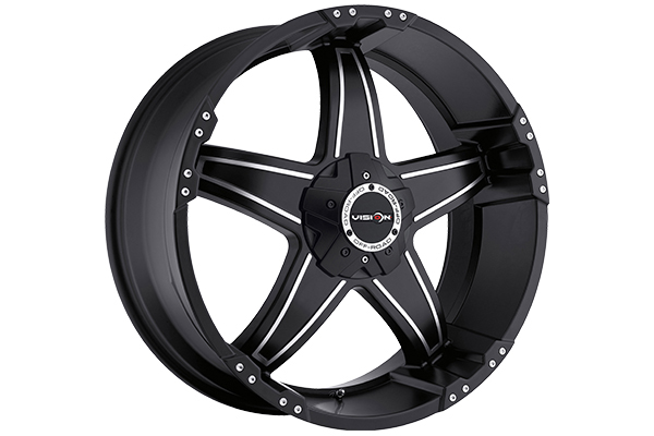 vision 395 wizard wheels matte black with machined accents 5 lug sample