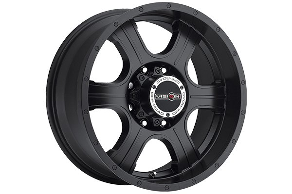 vision 396 assassin wheels matte black with black bolts sample