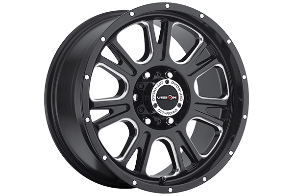 vision 399 fury wheels gloss black with milled spokes 6 lug sample