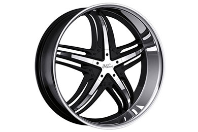 milanni 457 force wheels gloss black machine cut face stainless steel sample
