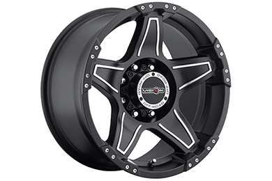 vision 395 wizard wheels matte black with machined accents 8 lug sample