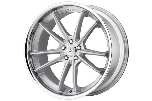 Image of Asanti Black 023 Wheels in Brushed Silver With Chrome Lip