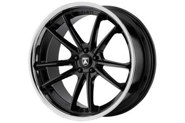 Image of Asanti Black 023 Wheels in Gloss Black with Chrome Lip