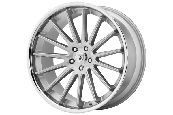 Image of Asanti Black 024 Wheels in Brushed Silver With Chrome Lip