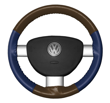 2009 2012 Ford Fusion Leather Steering Wheel Covers   Wheelskins Brown/Blue 14 3/4 X 4   Wheelskins EuroTone Leather Steering Wheel Covers