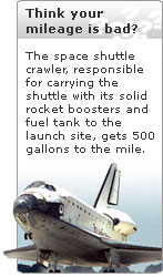 The space shuttle crawler gets horrible gas mileage