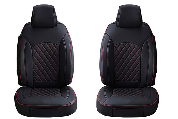 ProZ Premium Leatherette Seat Covers - Black and Red With Diamond Stitching